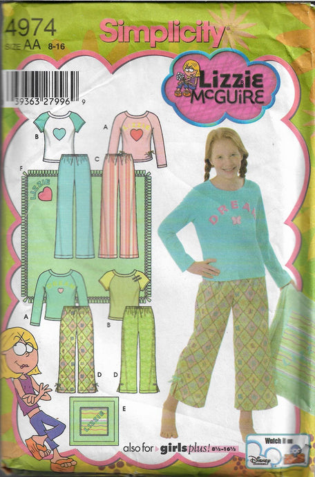 Simplicity 4974 Girls Pajamas Lizzie McGuire Sewing Pattern - VintageStitching - Vintage Sewing Patterns