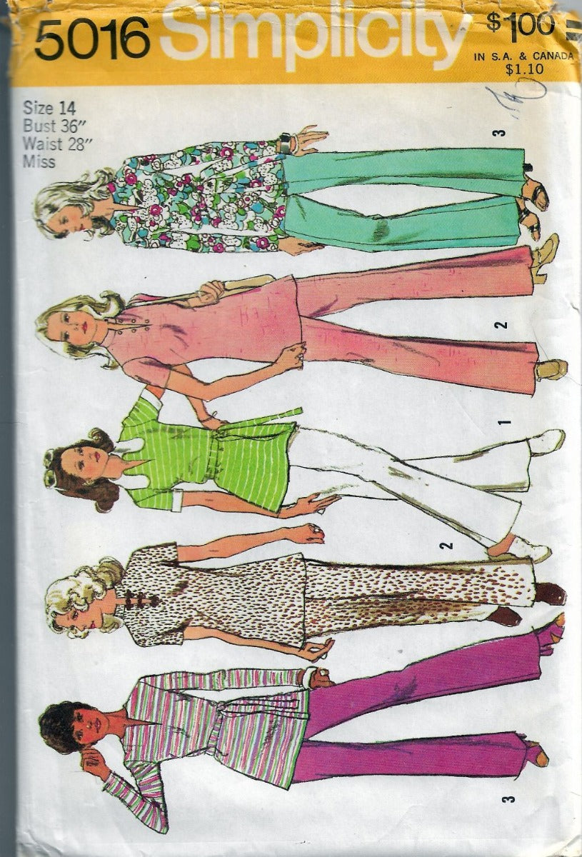 Simplicity 5016 Vintage Sewing Pattern 1970's Ladies Tunic Back Zipper Pants - VintageStitching - Vintage Sewing Patterns