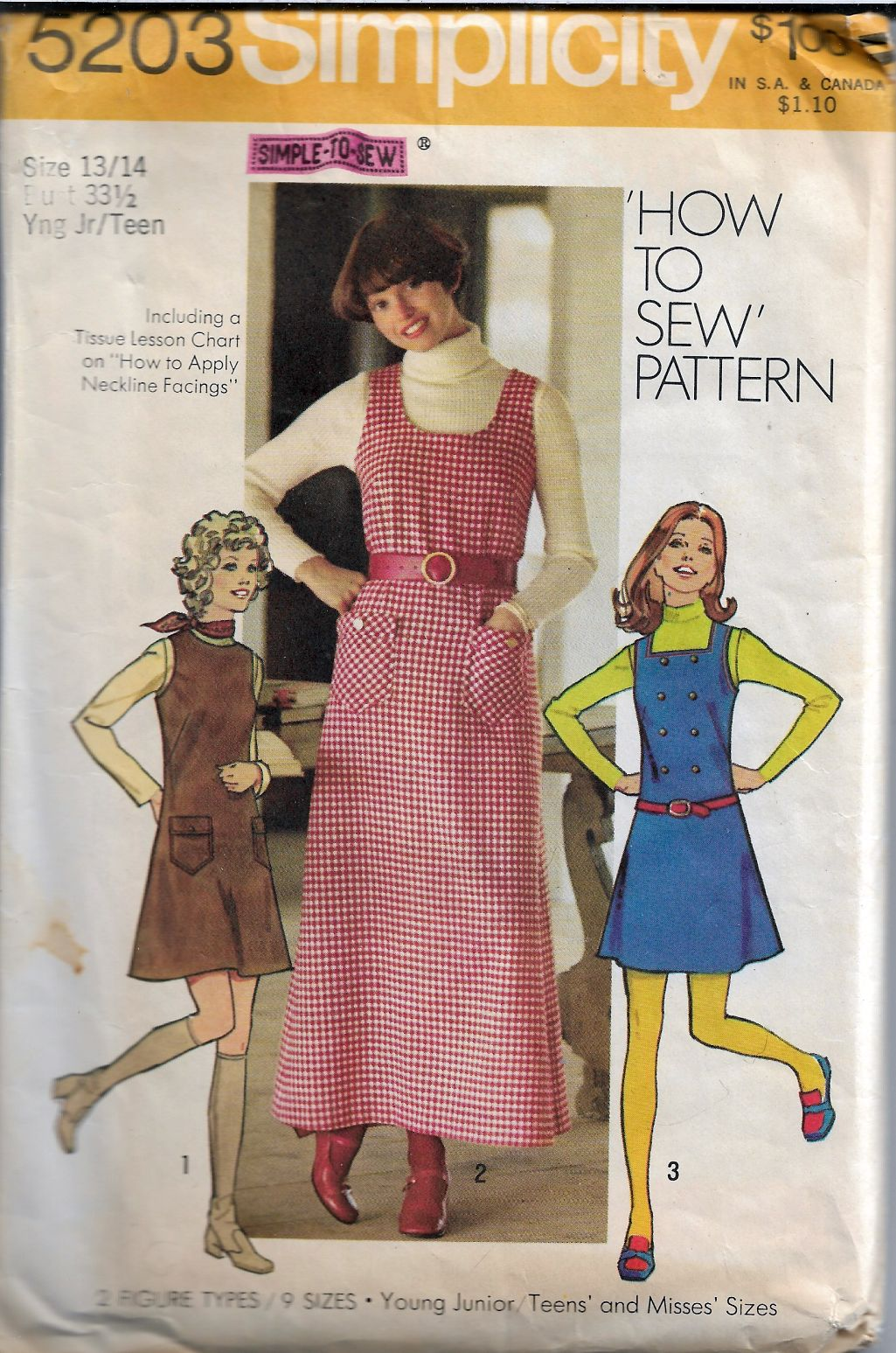 Simplicity 5203 Vintage Sewing Pattern 70's Junior Teen Jumper Dress - VintageStitching - Vintage Sewing Patterns