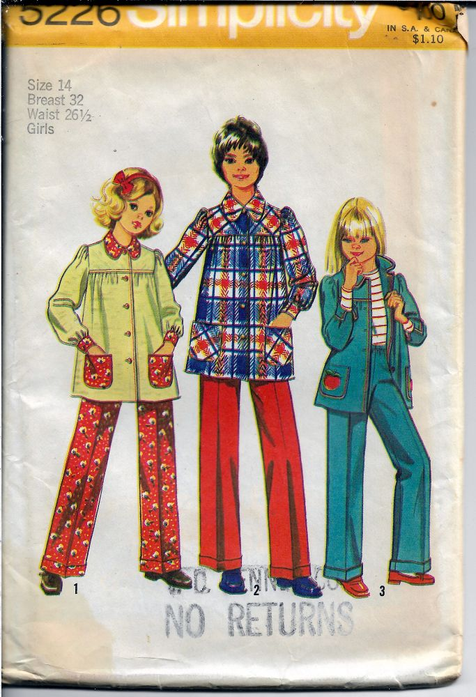 Simplicity 5226 Vintage Sewing Pattern Girls Smock Top and Pants - VintageStitching - Vintage Sewing Patterns