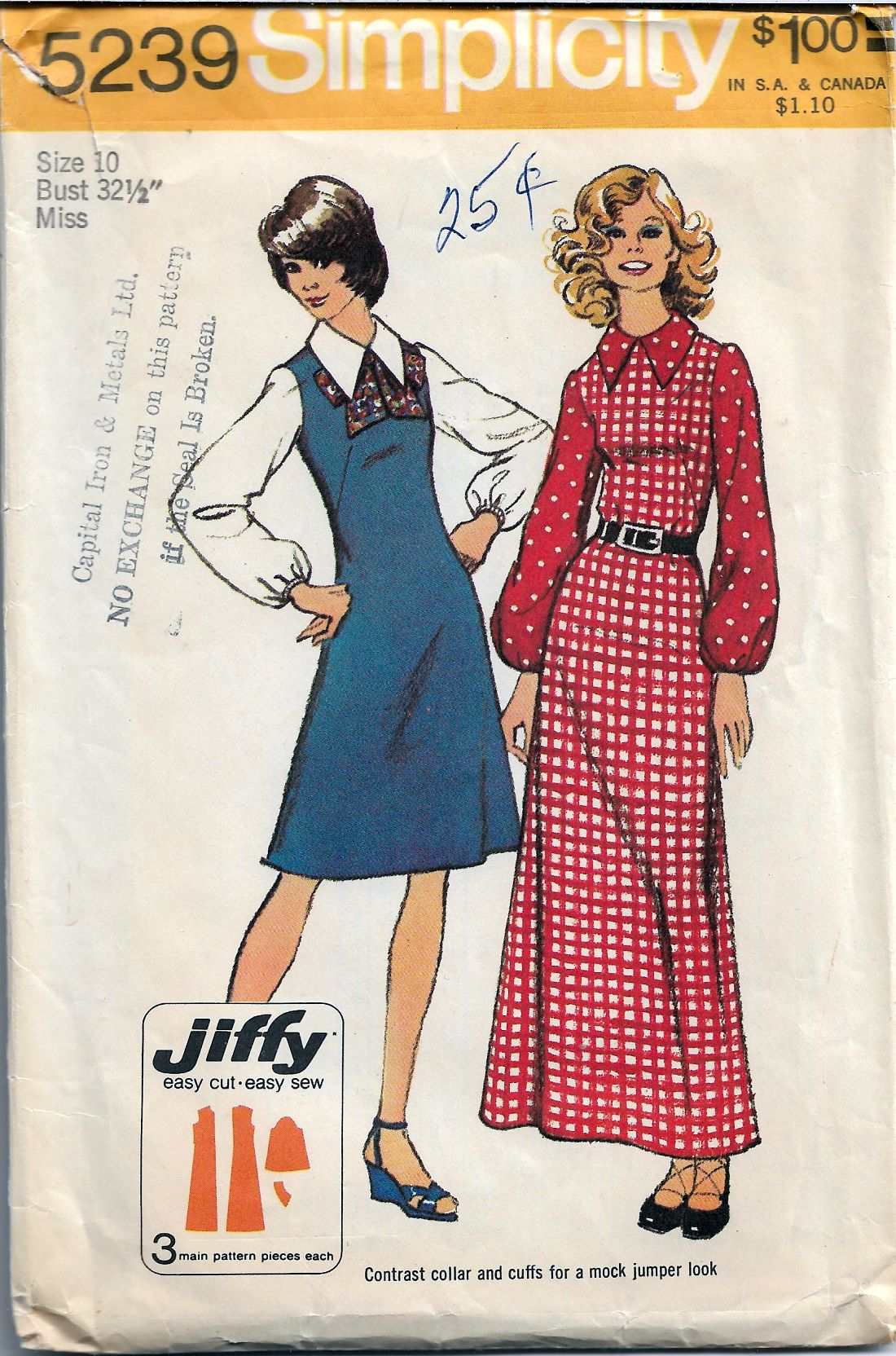 Simplicity 5239 Vintage Sewing Pattern 1970's Ladies Dress Jiffy - VintageStitching - Vintage Sewing Patterns