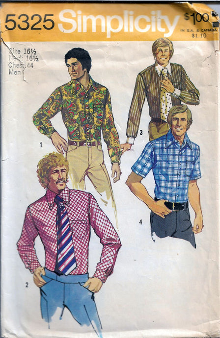 Simplicity 5325 Men's Shirts with Long Sleeves Vintage Sewing Pattern - VintageStitching - Vintage Sewing Patterns