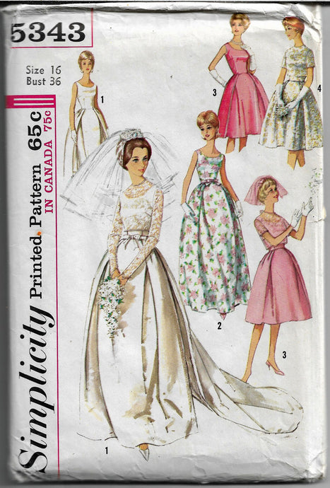 simplicity 5343 wedding gown vintage pattern