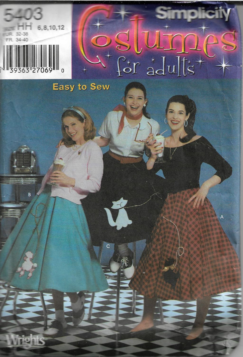 Simplicity 5403 Halloween Costume Pattern Poodle Skirt Misses - VintageStitching - Vintage Sewing Patterns