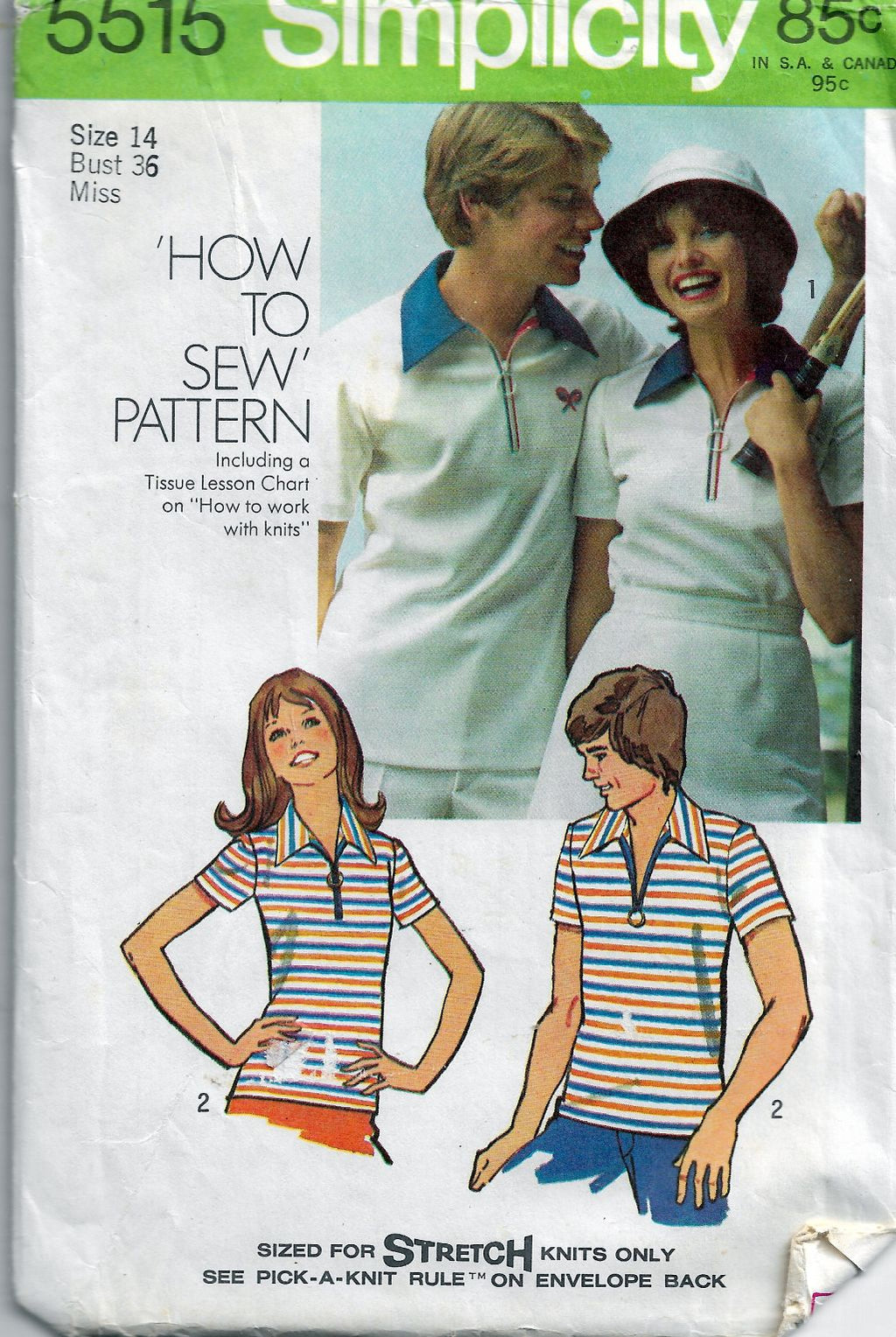 Simplicity 5515 Ladies Tennis Sports Shirt Vintage Sewing Pattern - VintageStitching - Vintage Sewing Patterns