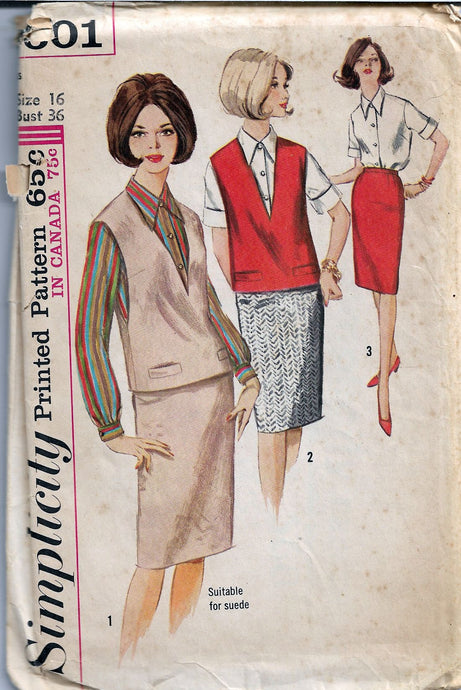 Simplicity 5601 Vintage 1960's Sewing Pattern Ladies Blouse & Skirt - VintageStitching - Vintage Sewing Patterns