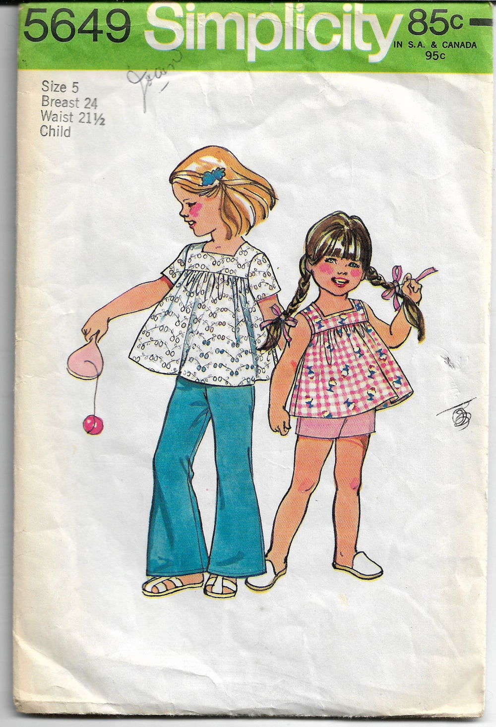 simplicity 5649 girls smock bell bottoms vintage pattern 1970s