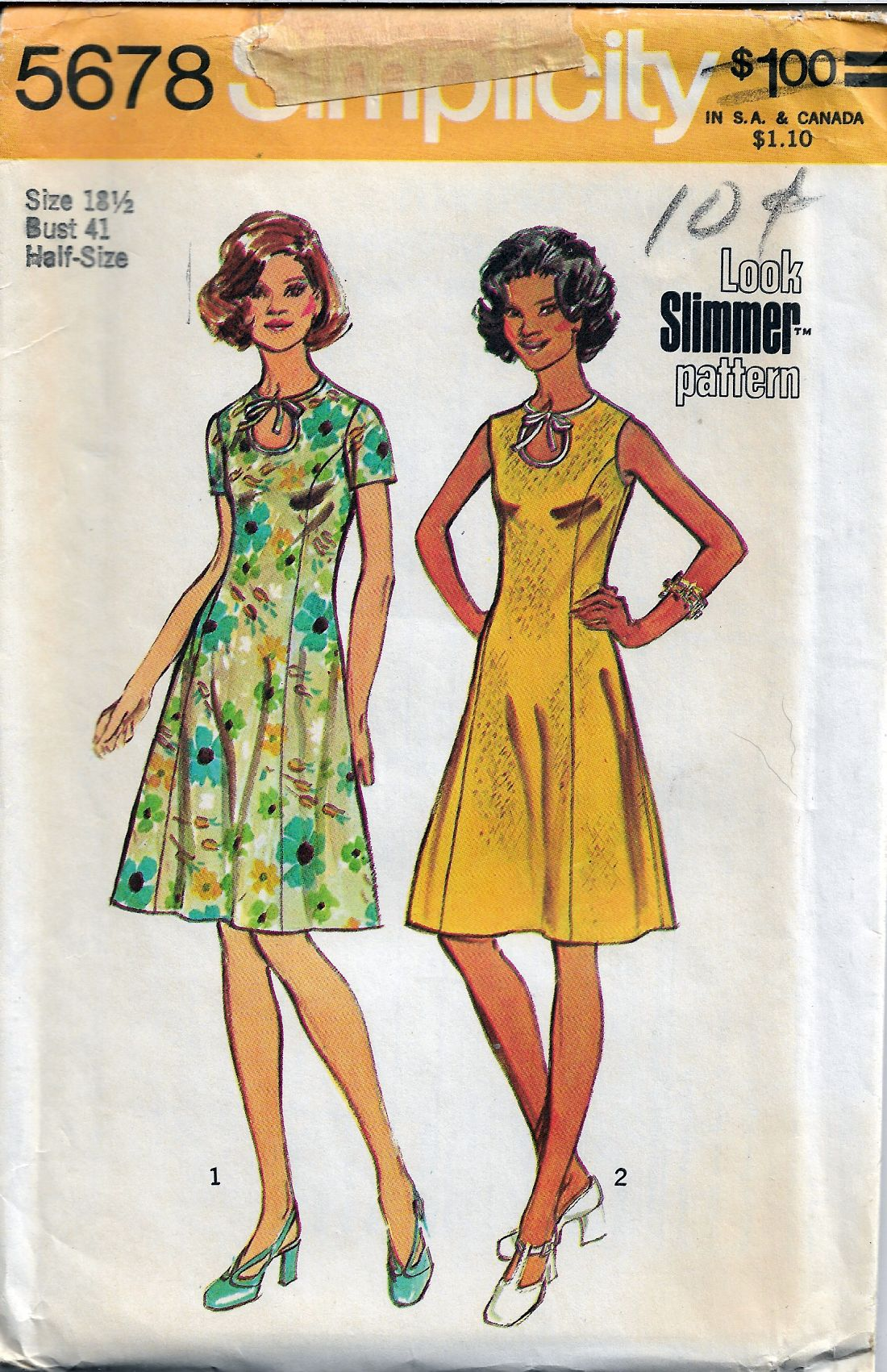 Simplicity 5678 Vintage Sewing Pattern Ladies Dress - VintageStitching - Vintage Sewing Patterns