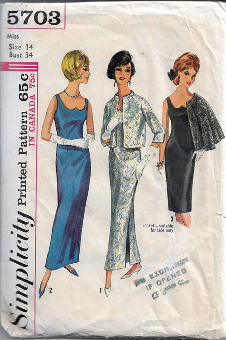 simplicity 5703 sheath dress vintage pattern