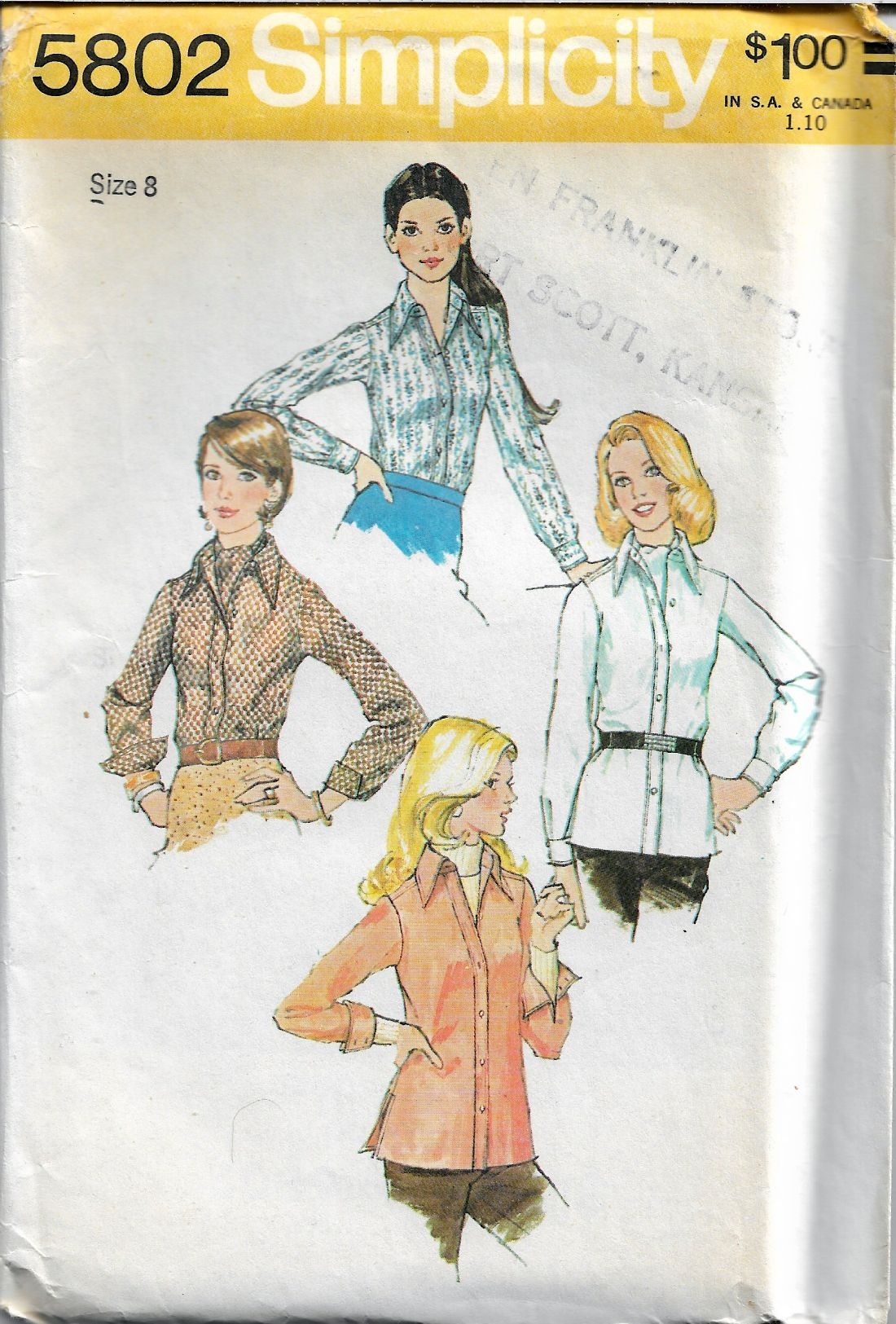 Simplicity 5802 Ladies Blouse Ascot Tie Vintage 1970's Sewing Pattern - VintageStitching - Vintage Sewing Patterns