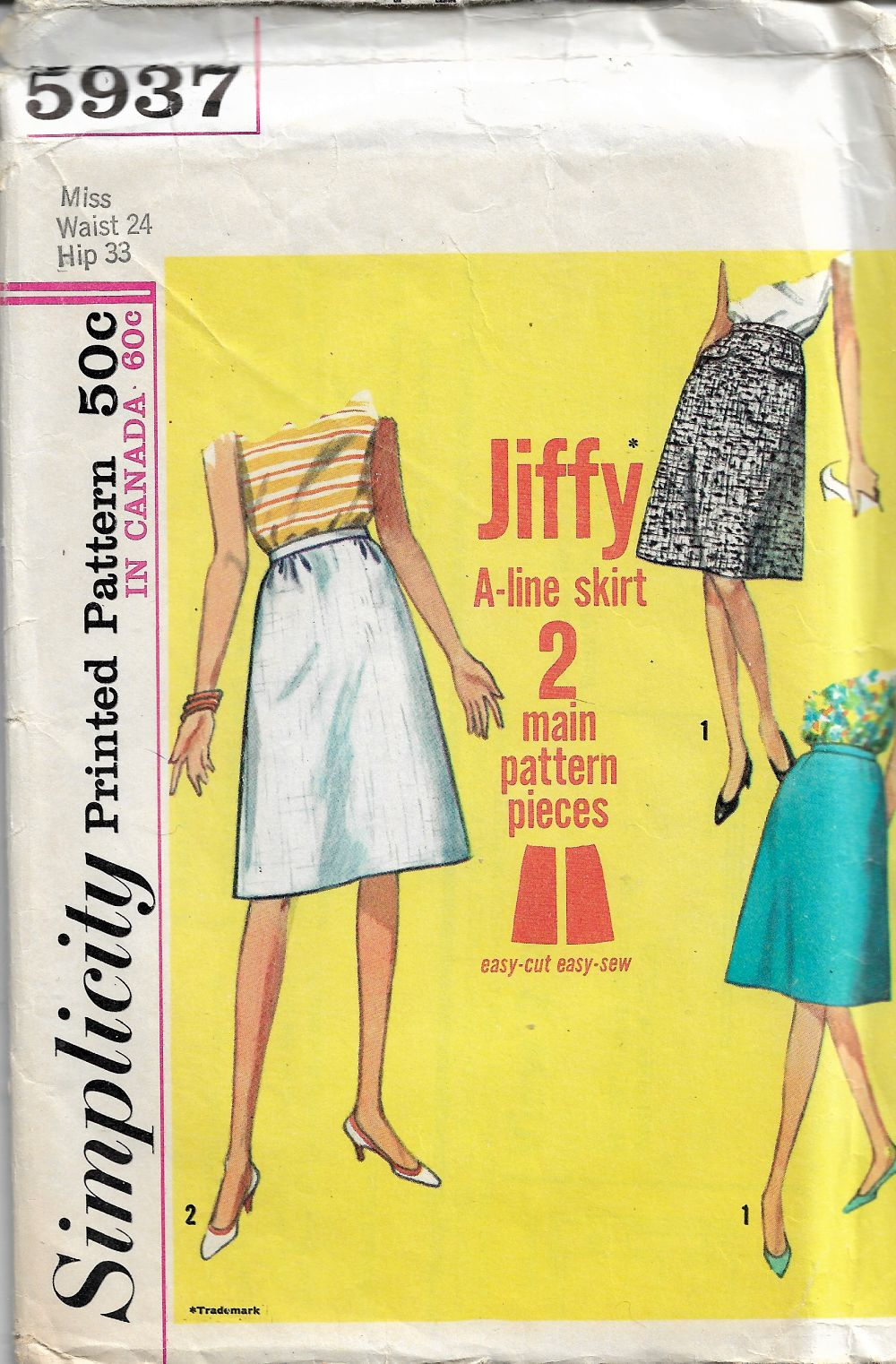 Simplicity 5937 Vintage Sewing Pattern 1960's Misses Jiffy Skirt - VintageStitching - Vintage Sewing Patterns