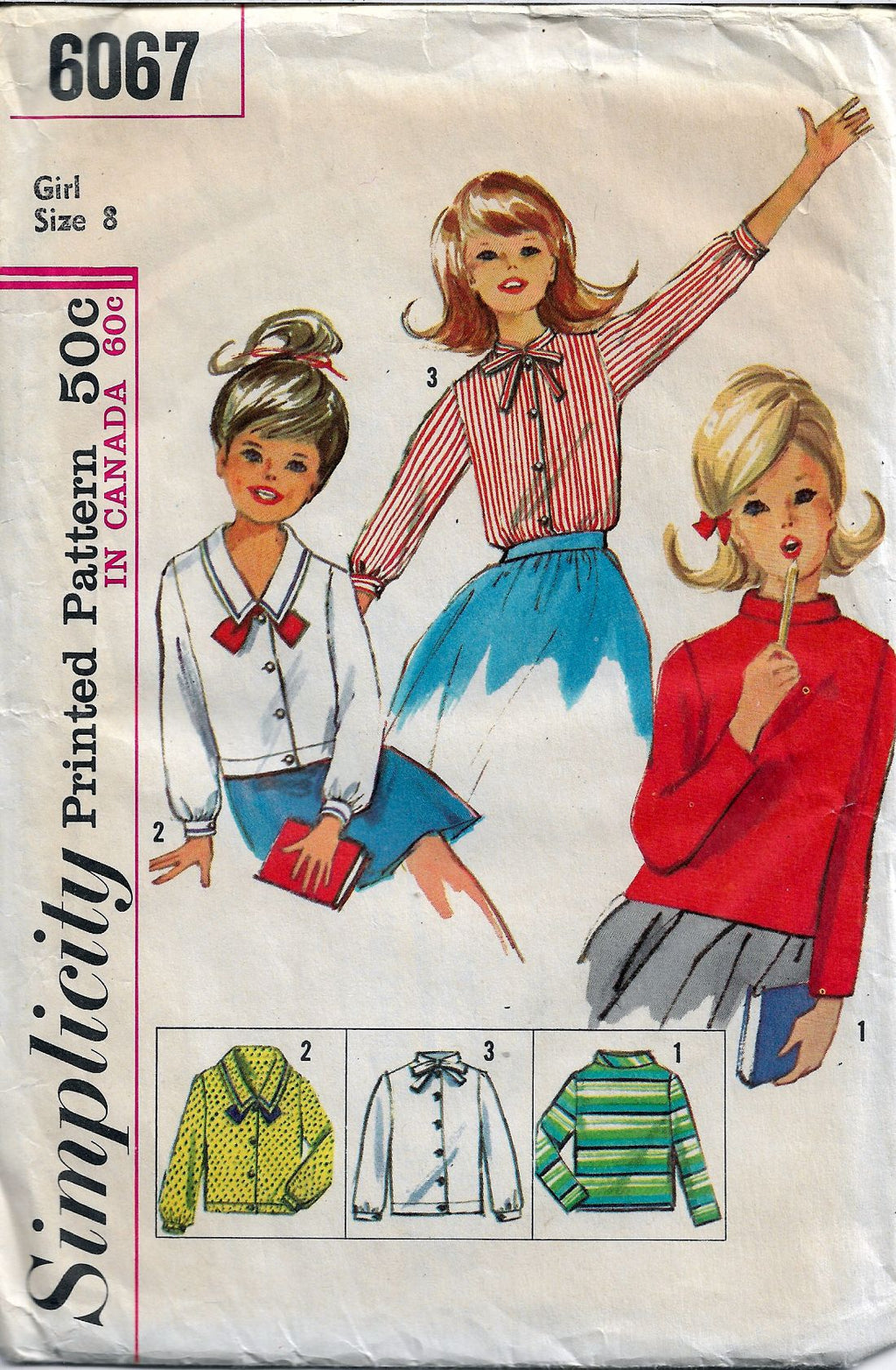 Simplicity 6067 Little Girls Set of Blouses Vintage Sewing Pattern - VintageStitching - Vintage Sewing Patterns