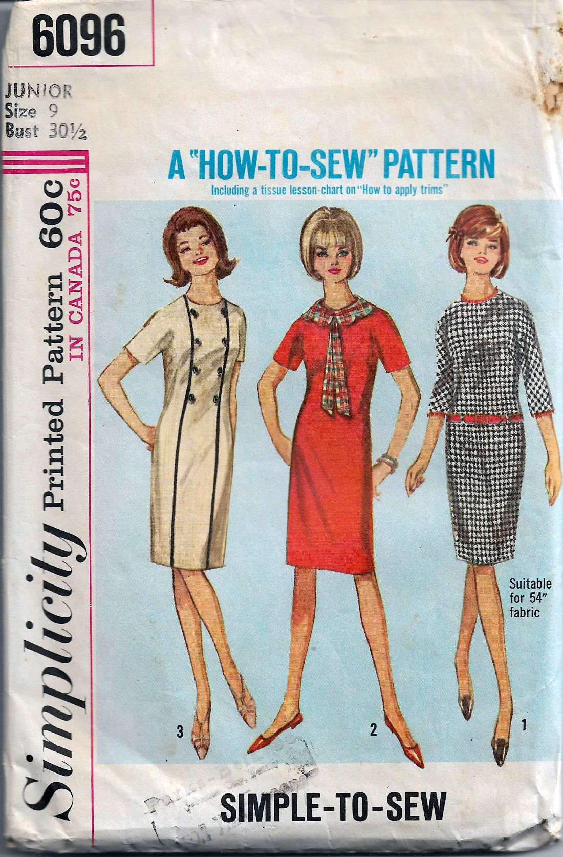 Simplicity 6096 Junior Shift Dress Detachable Vintage Sewing Pattern Mad Men - VintageStitching - Vintage Sewing Patterns