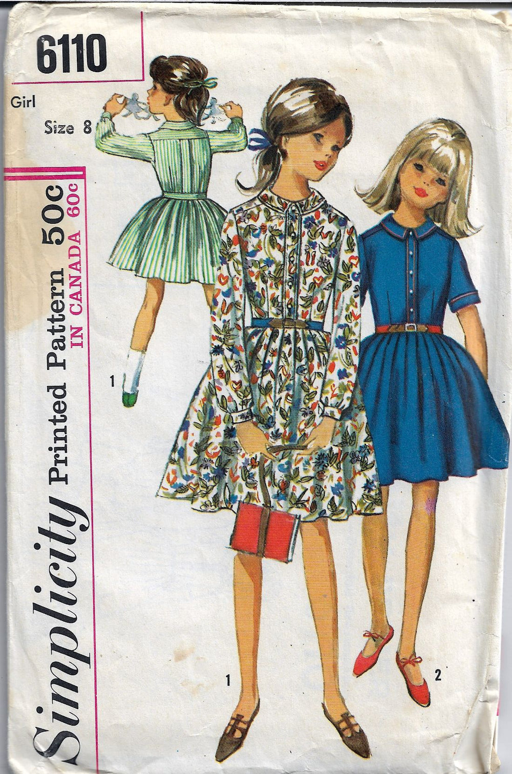 Simplicity 6110 Girls One Piece Dress Vintage 1960's Sewing Pattern - VintageStitching - Vintage Sewing Patterns