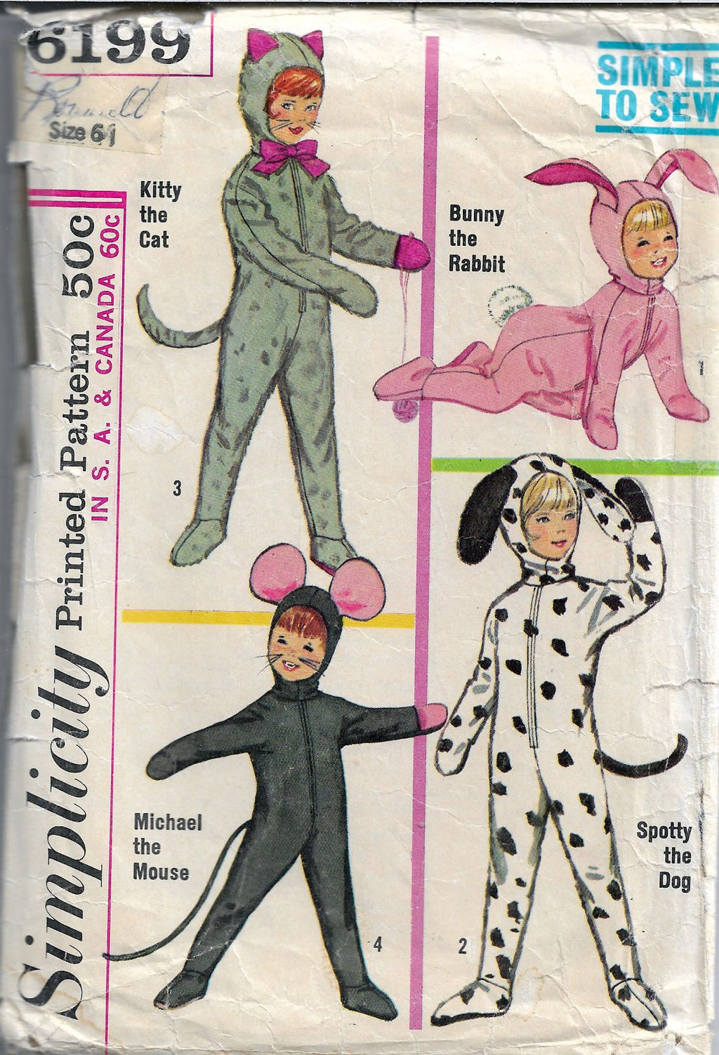 Simplicity 6199 Vintage Pattern Childrens Animal Costume - VintageStitching - Vintage Sewing Patterns
