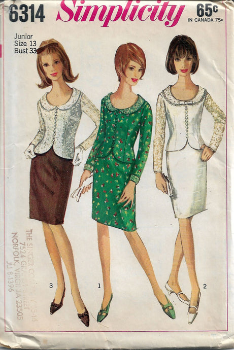 Simplicity 6314 Vintage Pattern Ladies Mad Men Two Piece Dress - VintageStitching - Vintage Sewing Patterns
