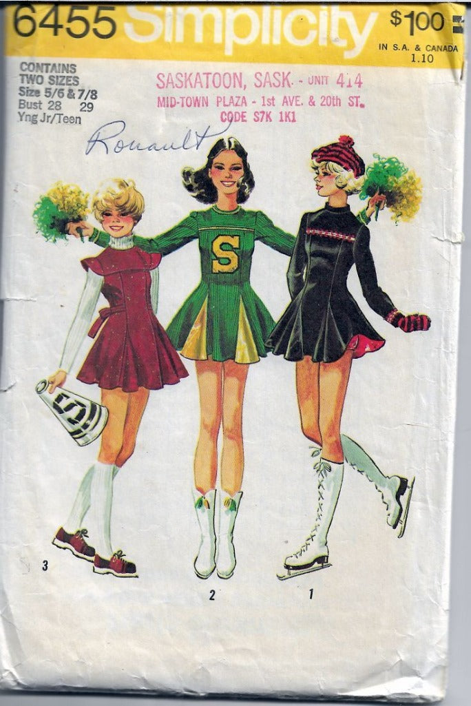 Simplicity 6455 Vintage Sewing Pattern Teen Cheerleader Skate Dress - VintageStitching - Vintage Sewing Patterns