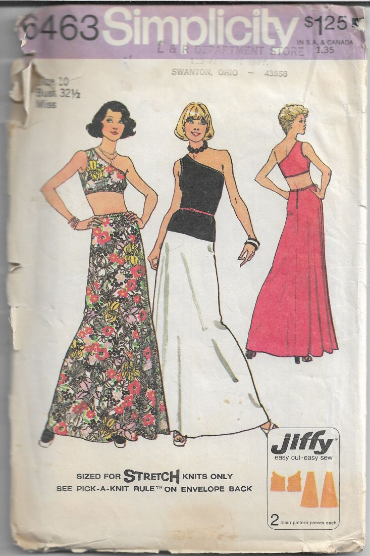 Simplicity 6463 Vintage 1970's Sewing Pattern Misses Top Skirt Jiffy - VintageStitching - Vintage Sewing Patterns
