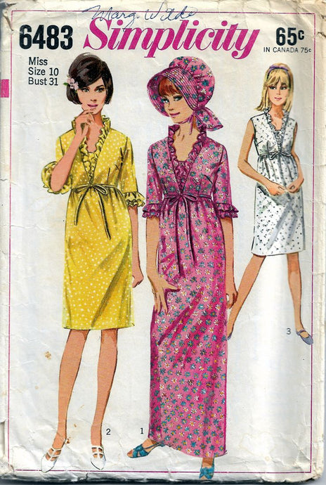 Simplicity 6483 Ladies Dress & Bonnet Vintage 1960's Sewing Pattern Mad Men - VintageStitching - Vintage Sewing Patterns