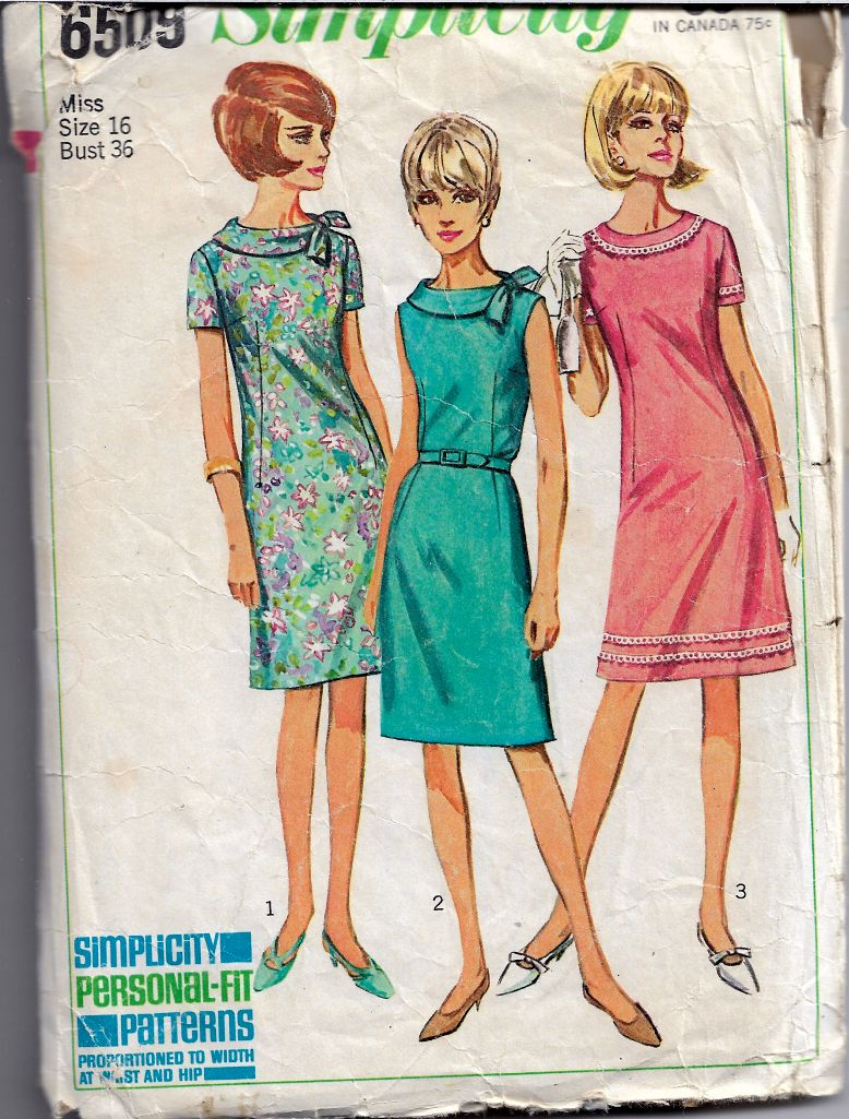 Simplicity 6509 Ladies A-Line Dress Vintage Sewing Pattern 1960s - VintageStitching - Vintage Sewing Patterns