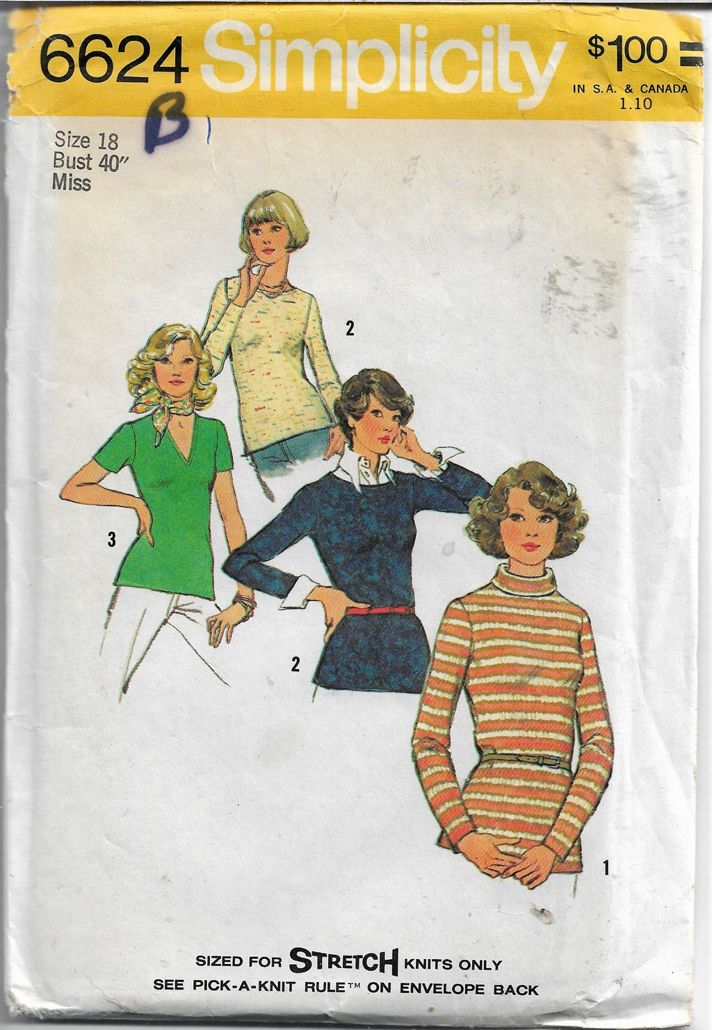 simplicity 6624 ladies tops vintage pattern