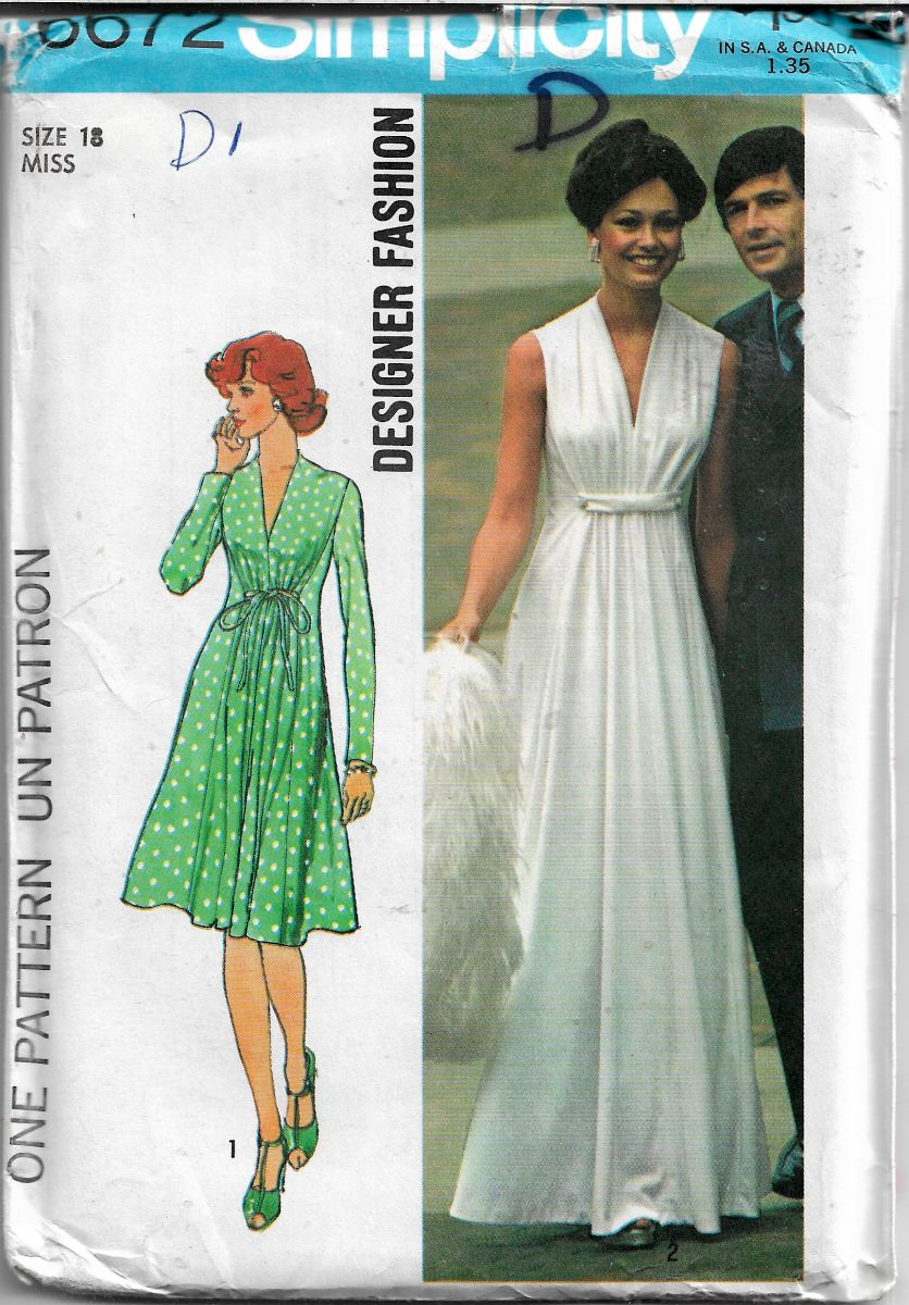 Simplicity 6672 gown dress vintage pattern