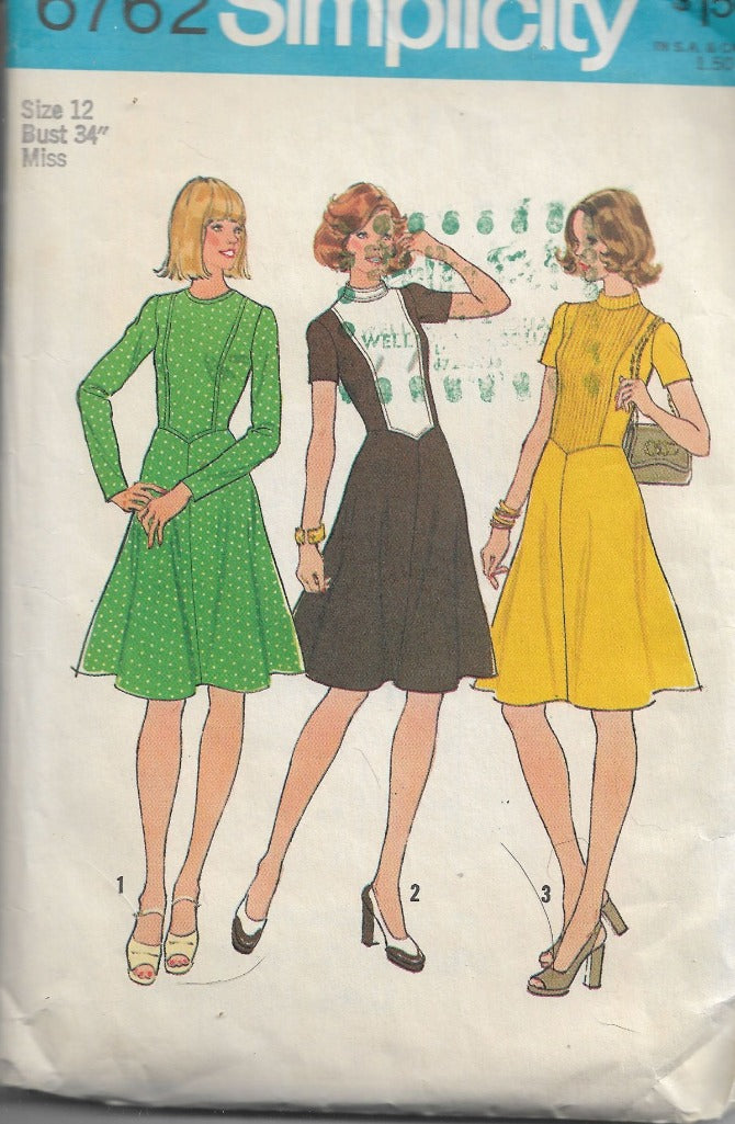 Simplicity 6762 Ladies Dress Flared Skirt Vintage Sewing Pattern 1970s - VintageStitching - Vintage Sewing Patterns