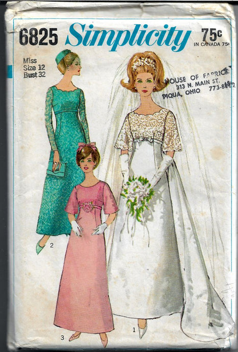 Simplicity 6825 Vintage 1960's Sewing Pattern Wedding Gown Bride Dress - VintageStitching - Vintage Sewing Patterns