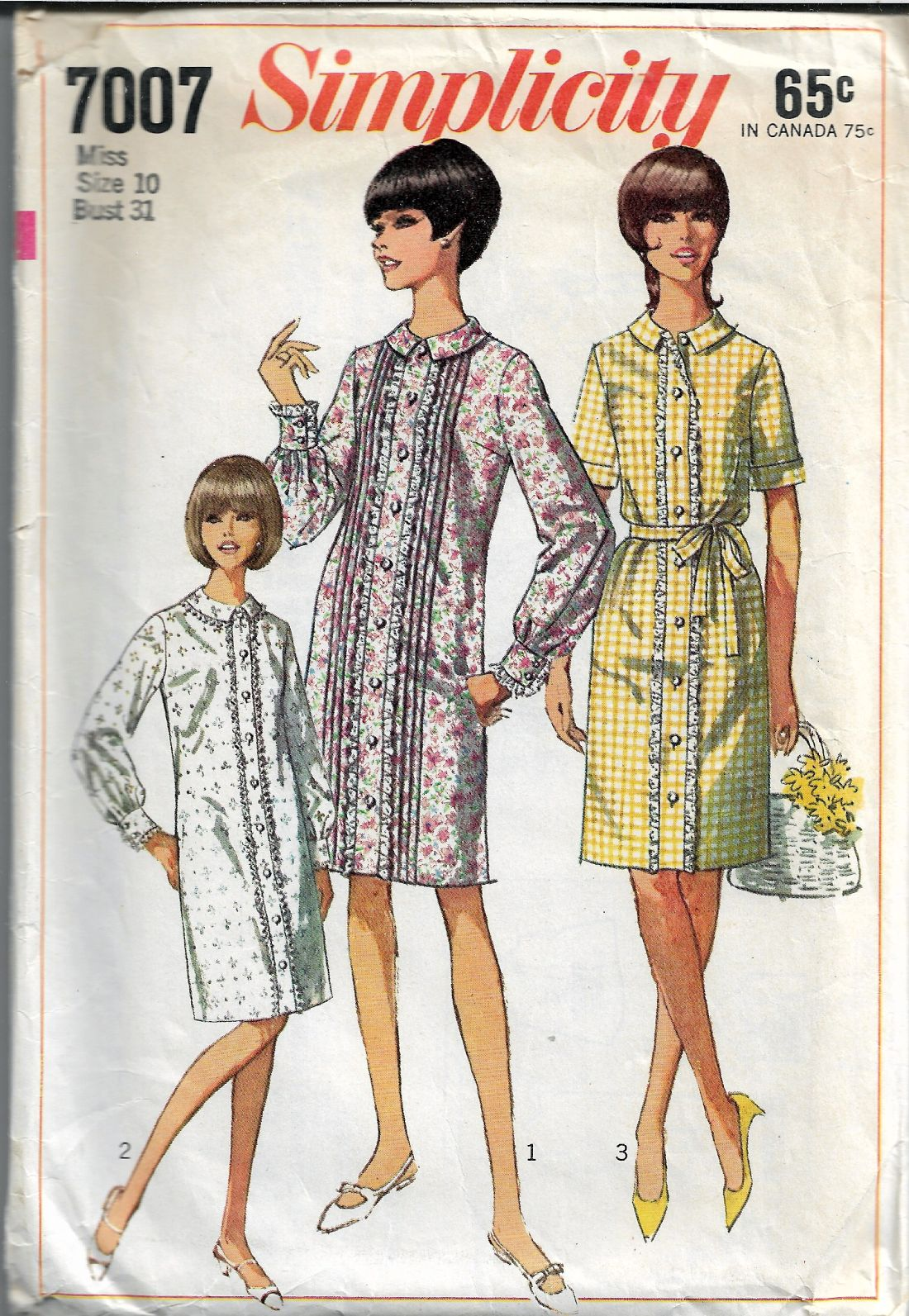 Simplicity 7007 Ladies One-Piece A Line Dress Vintage 1960's Sewing Pattern - VintageStitching - Vintage Sewing Patterns