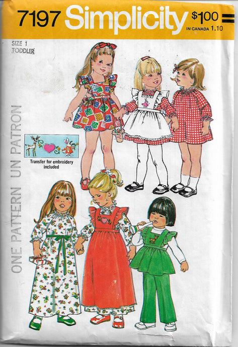 simplicity 7197 toddler dress vintage pattern