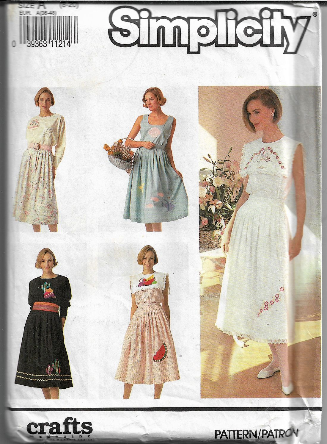 Simplicity 7239 Sewing Pattern Ladies Skirt Tops with Appliques Vintage 1990's - VintageStitching - Vintage Sewing Patterns