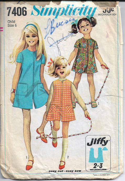 simplicity 7406 girls pant dress vintage pattern