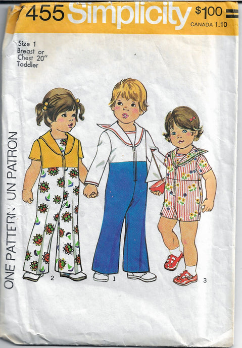 simplicity 7455 sailor jumpsuit vintage pattern