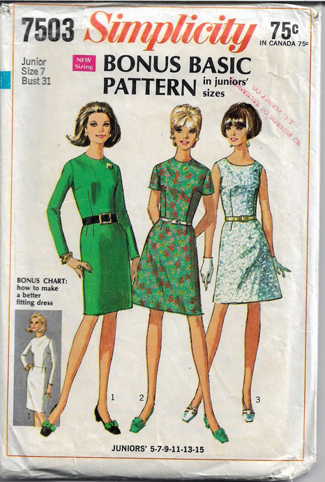 Simplicity 7503 Junior Basic Dress Slim Skirt Vintage Sewing Pattern - VintageStitching - Vintage Sewing Patterns