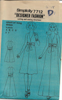 Simplicity 7712 Ladies Evening Gown Dress Vintage Sewing Pattern 1970s No Envelope