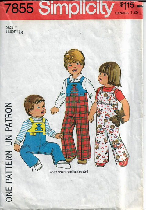 simplicity 7855 toddlers coveralls vintage pattern