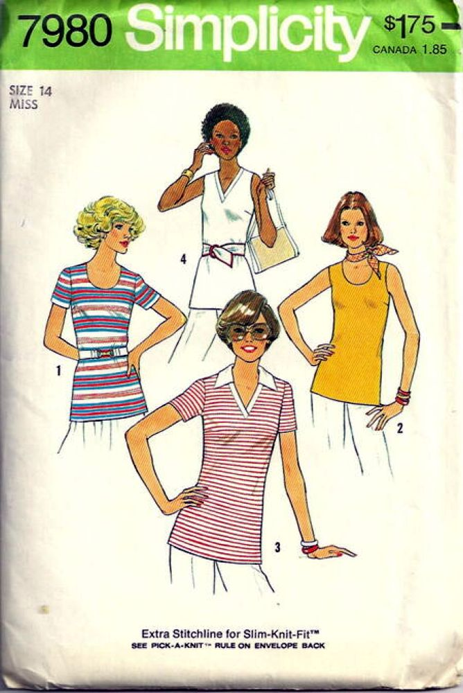 simplicity 7980 top vintage sewing pattern 1970s
