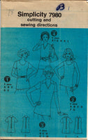 Simplicity 7980 Back Zipper Top Vintage Sewing Pattern 1970s No Envelope