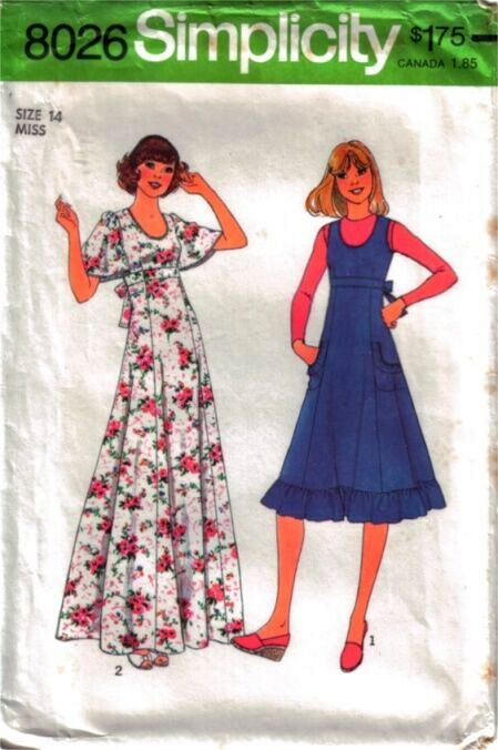 simplicity 8026 jumper dress vintage pattern 1970s