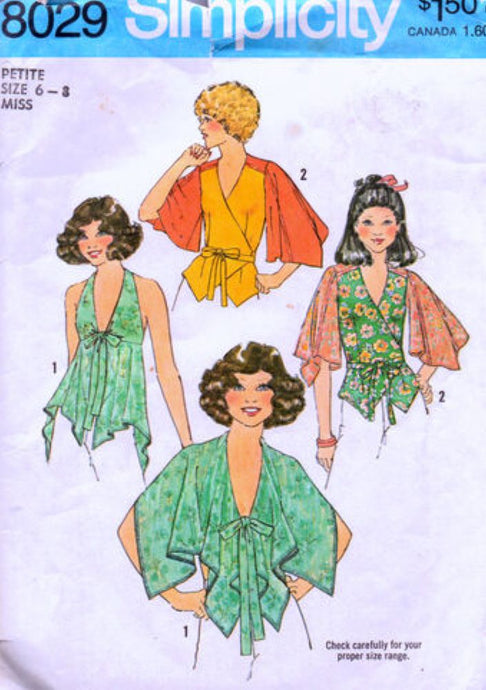 simplicity 8029 top vintage pattern 1970s
