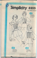 Simplicity 8205 Ladies Pullover Top Blouse Vintage Sewing Pattern 1970s No Envelope