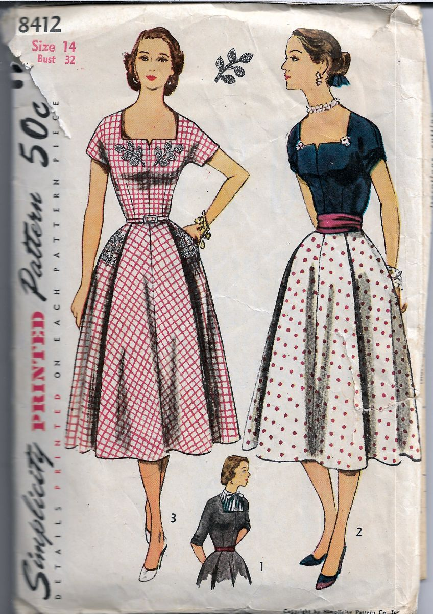 Simplicity 8412 Ladies Dress Dickey Square Neckline Vintage Sewing Pattern