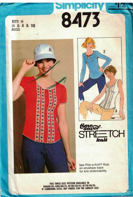 simplicity 8473 pullover top vintage pattern 1970s