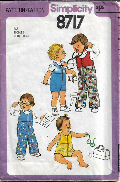 simplicity 8717 toddlers overalls vintage pattern