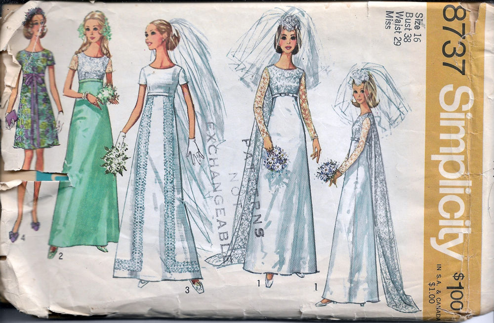 simplicity 8737 wedding vintage pattern