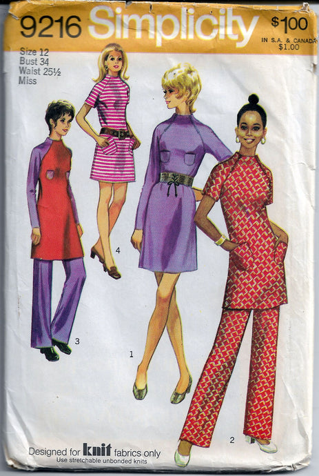 simplicity 9216 mini dress vintage pattern