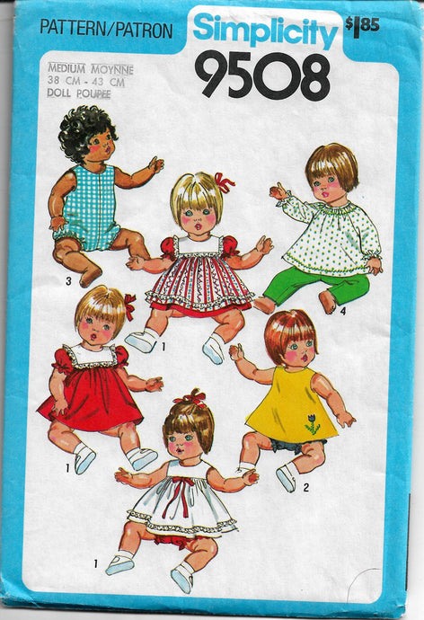 doll clothes vintage pattern simplicity 9508