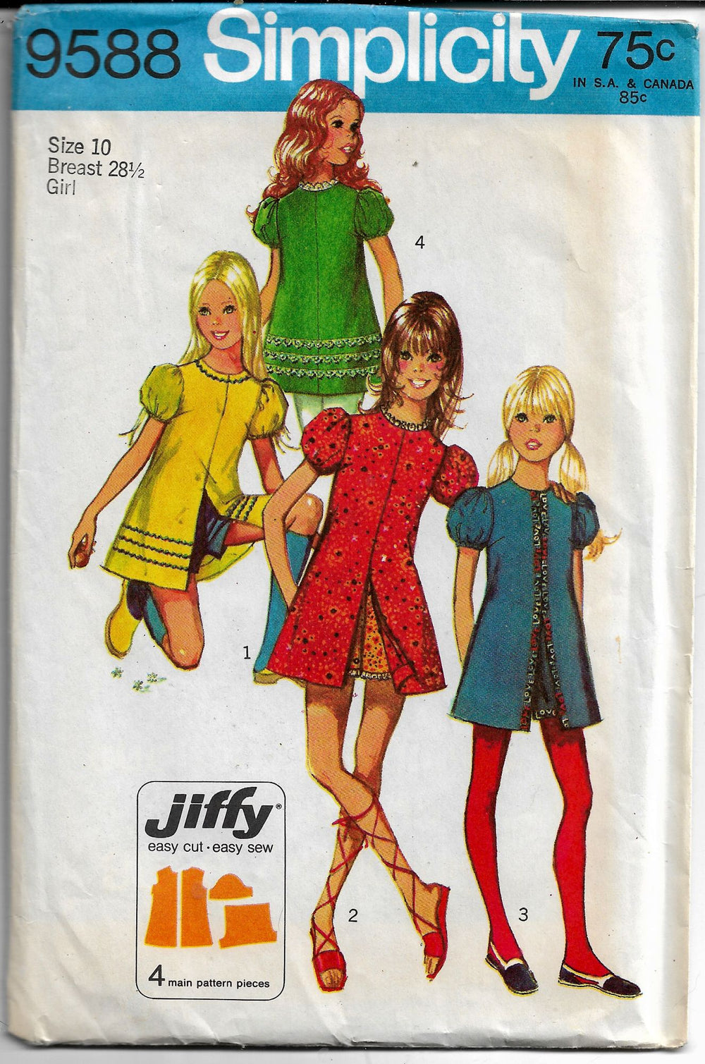 mini dress simplicity 9588 vintage pattern
