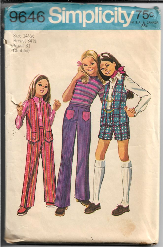 Simplicity 9646 Vintage Sewing Pattern Girls Pants Shorts Vest Chubbie - VintageStitching - Vintage Sewing Patterns