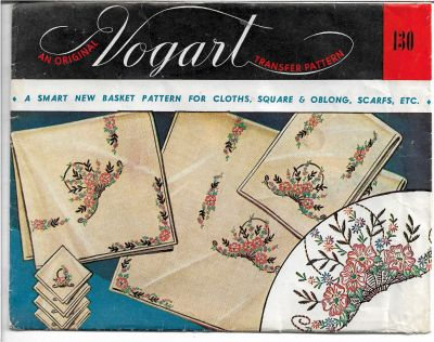 Vintage Transfer Pattern Vogart 130 Floral Basket - VintageStitching - Vintage Sewing Patterns